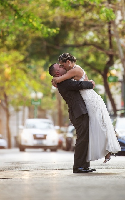 iconic wedding shot capital street charleston wv